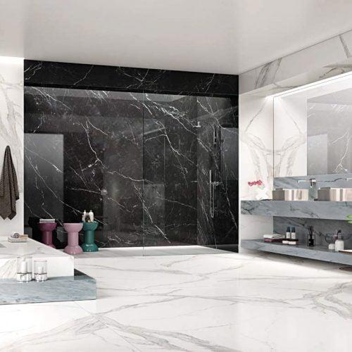 Nero Marquina Porselen kaplanmış banyo